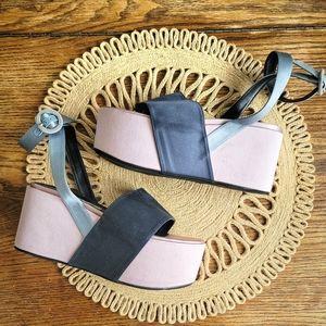 EUGENIA KIM Pink Satin Platform Sandals Size 6.5